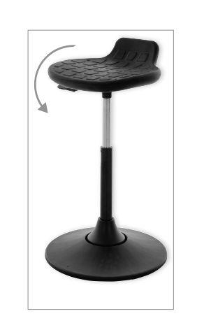 Multibeweglicher Drehhocker - mit Sitzneige und schwingendem Standfuß PU schwarz