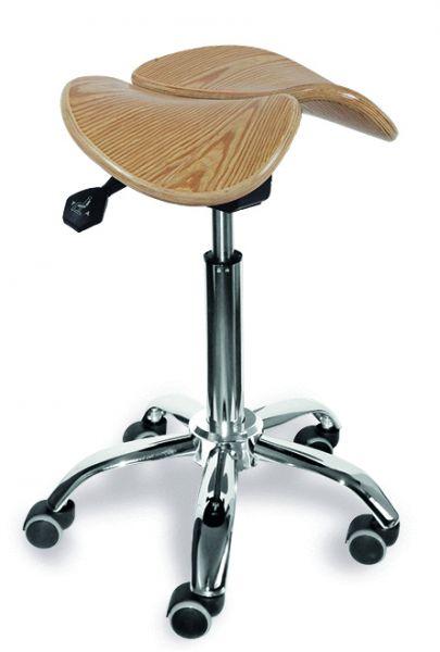 Sattelstuhl mit Holzsitzfläche, höhenverstellbar, kleines Fußkreuz